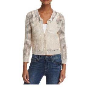 Theory Tamvi Linen Blend Crochet Cardigan Sweater